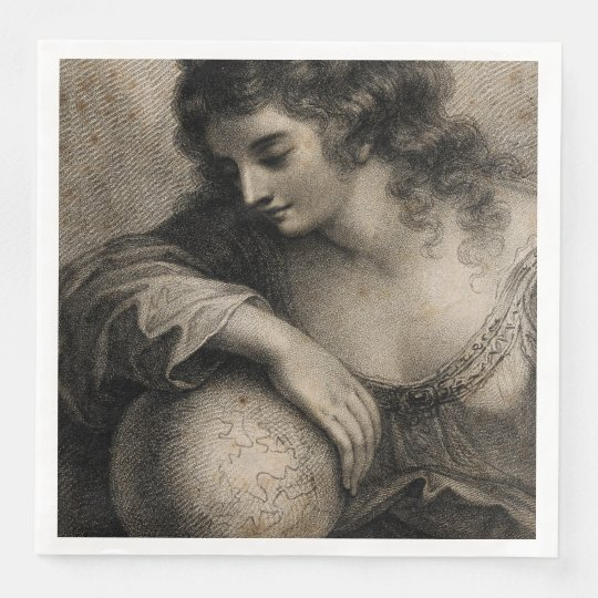 Female Portrait Woman Globe Vintage Engraving Paper Napkins