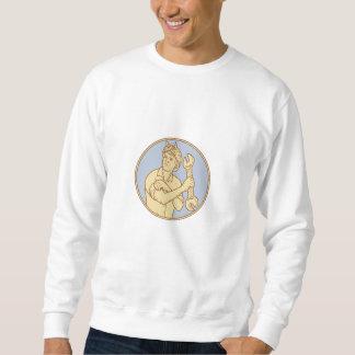 Female Riverter Rolling Sleeve Spanner Mono Line Sweatshirt