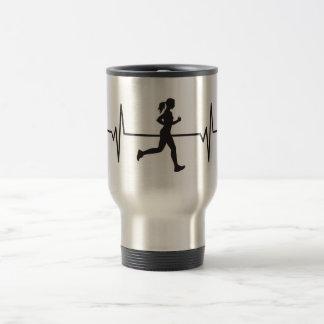 Female Runner Jogger - Heartbeat Pulse Travel Mug