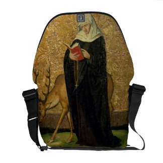 Female Saint with a Stag (oil on panel) Messenger Bags