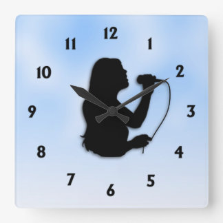 Female Singer Blue with Black Numbers Square Wall Clock