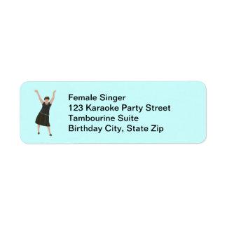 Female singer karaoke birthday party address label