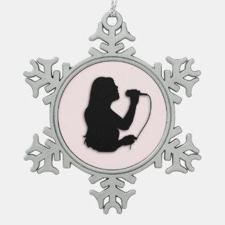 Female Singer Pink Pewter Snowflake Ornament