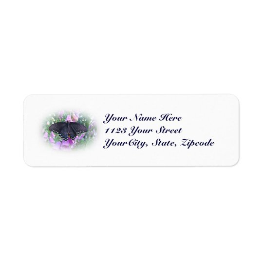 Female Spicebush Swallowtail Butterfly Return Address Label