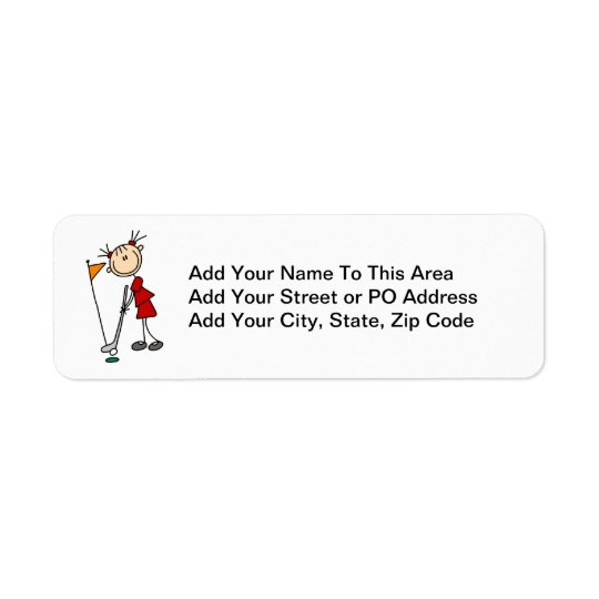 Female Stick Figure Golfer Return Address Label
