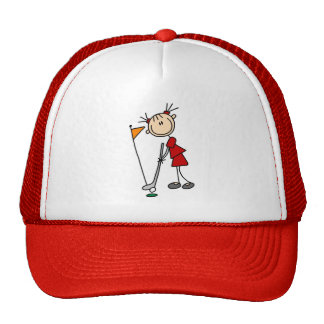 Female Stick Figure Golfer Trucker Hat
