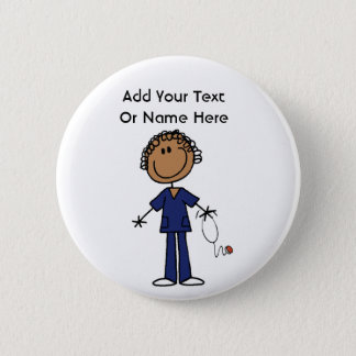 Female Stick Figure Nurse Aid T-shirts and Gifts 2 Inch Round Button
