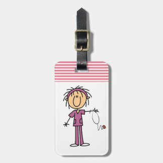 Female Stick Figure Nurse Luggage Tag