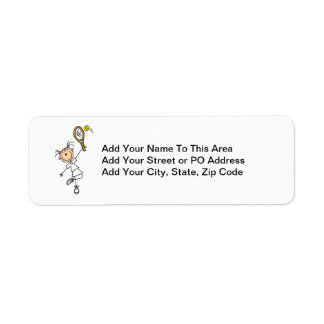 Female Stick Figure Tennis Player Return Address Label