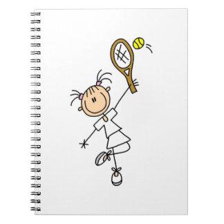 Female Stick Figure Tennis Player Spiral Notebook