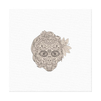 Female Sugar Skull Calavera Retro Canvas Print