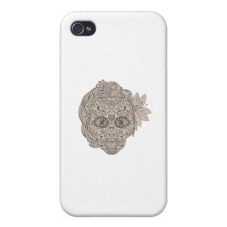 Female Sugar Skull Calavera Retro iPhone 4 Cover