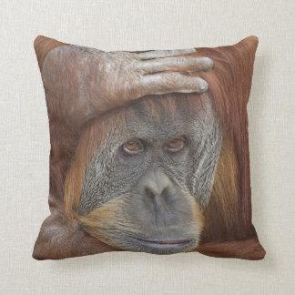 Female Sumatran Orangutan, Pongo pygmaeus Throw Pillow