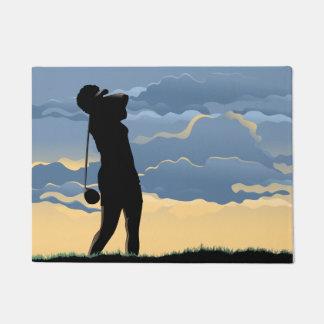Female Sunset Golfer Doormat