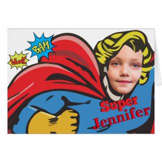 Female Superhero Children's Custom Birthday Card