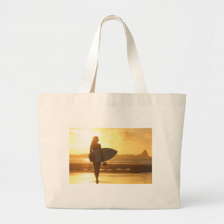 Female Surfer on the Beach Large Tote Bag