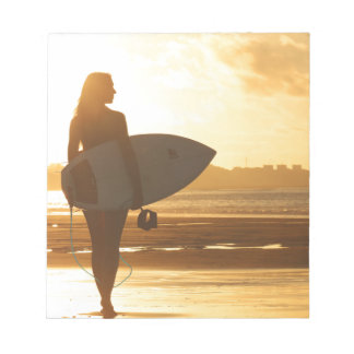 Female Surfer on the Beach Notepads