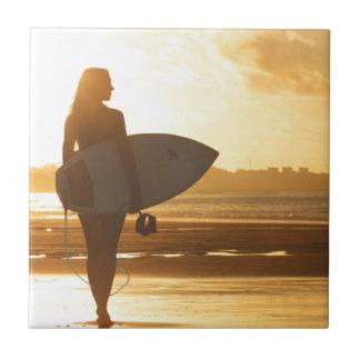 Female Surfer on the Beach Tile
