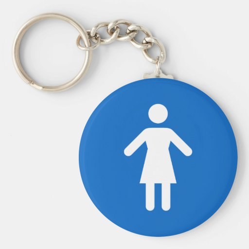 Female symbol, classic blue and white keychain