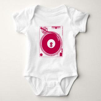 Female Symbol Turntable Deck - DJ Disc Jockey Baby Bodysuit