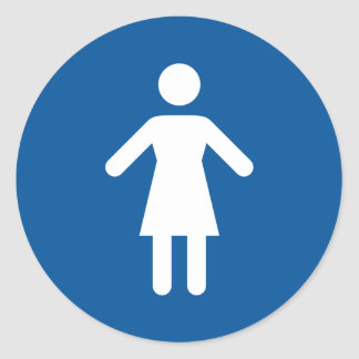 Female toilet sign classic round sticker