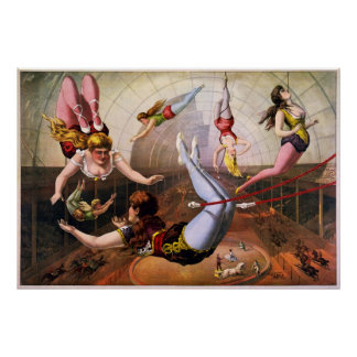 Female trapeze acrobats at circus poster