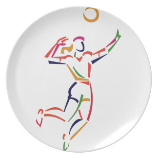 Female Volleyball Player Plate
