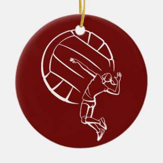 Female Volleyball Player Spiking Ceramic Ornament