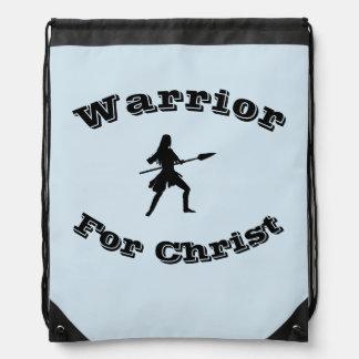 Female Warrior For Christ Drawstring Backpack