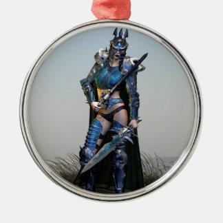 Female Warrior Metal Ornament