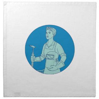 Female Welder Acetylene Welding Torch Mono Line Napkin