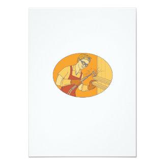 Female Welder Acetylene Welding Vintage Mono Line Card