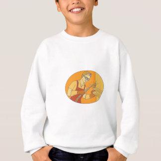 Female Welder Acetylene Welding Vintage Mono Line Sweatshirt