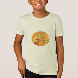 Female Welder Acetylene Welding Vintage Mono Line T-Shirt