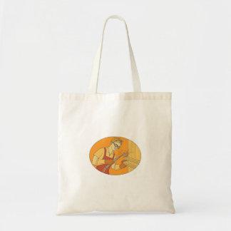Female Welder Acetylene Welding Vintage Mono Line Tote Bag