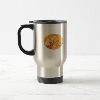 Female Welder Acetylene Welding Vintage Mono Line Travel Mug