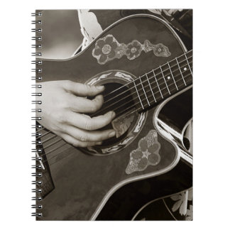 Female with acoustic  Guitar hand and hip view Spiral Notebook