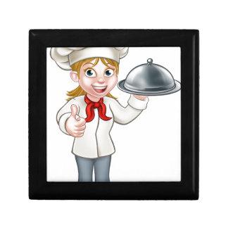 Female Woman Chef Cartoon Character Gift Box