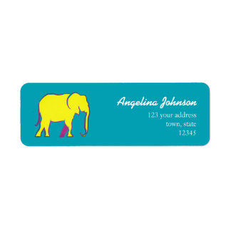 Female Yellow Bold Cartoon Elephant Blue Bright Return Address Label