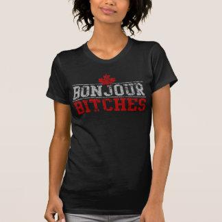 """Femelles de Bonjour de Canadien drôle """" Tee-shirt"""