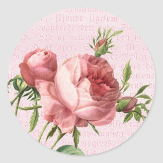 Feminine and beautiful vintage rose pink classic round sticker