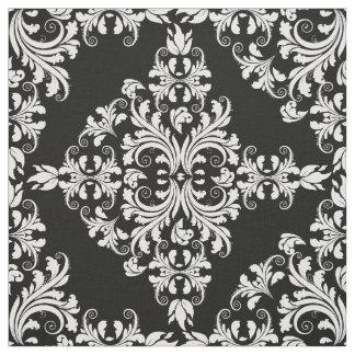Feminine Black and White Damask Floral Pattern Fabric