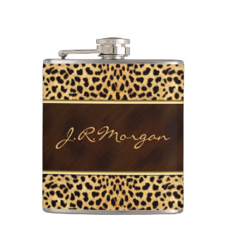 Feminine Cheetah Print with Name Hip Flask