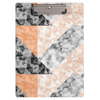 Feminine Coral Pink Marble Collage Design Clipboard
