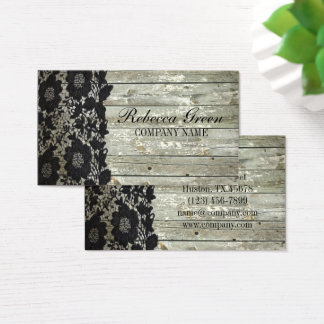 Feminine country chic black lace barn wood business card