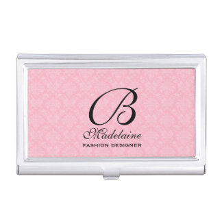 Feminine Damask in Pink and Black with Monogram Business Card Holder