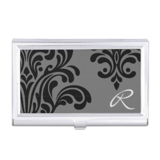 Feminine Damask Monogram Business Card Holder