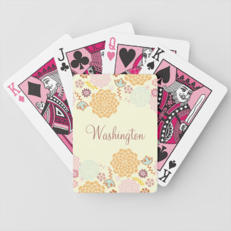 Feminine Fancy Modern Floral Personalized Bicycle Playing Cards