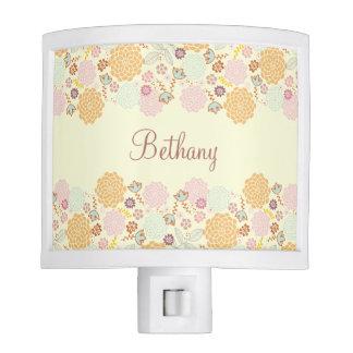 Feminine Fancy Modern Floral Personalized Nite Lights
