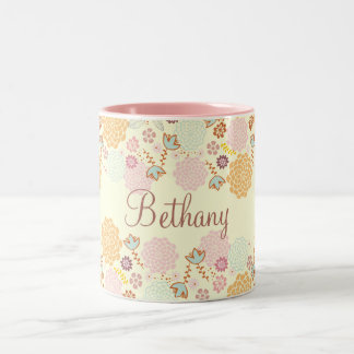 Feminine Fancy Modern Floral Personalized Two-Tone Coffee Mug